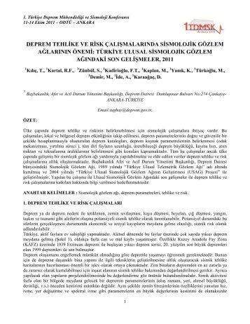 deprem tehlike ve risk çalışmalarında sismolojik gözlem ağlarının ...