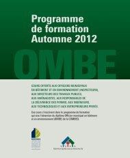 Programme de formation Automne 2012 - COMBEQ
