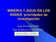 MINERIA Y AGUA EN LOS ANDES: prioridades de investigación