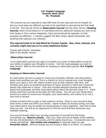 AP English summer assignment - The Gunnery