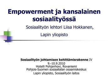 Empowerment ja kansalainen Sosiaalityön lehtori ... - Sosiaalikollega