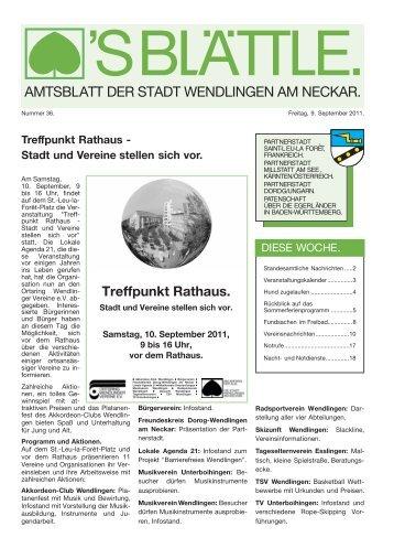 Treffpunkt Rathaus - Stadt und Vereine stellen ... - Stadt Wendlingen