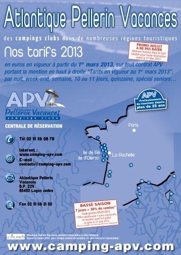 Nos tarifs 2013 - Atlantique Pellerin vacances