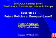 The European Employers Perspective - Construction Labour Research