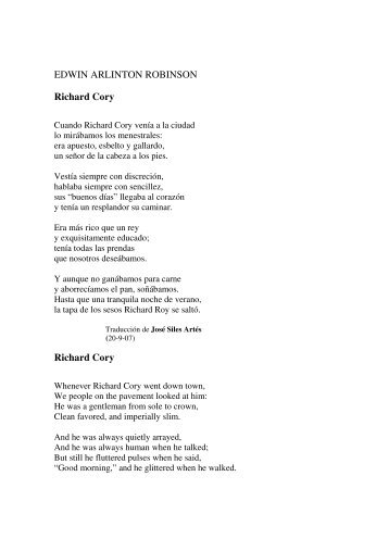 who is the speaker on the poem richard cory The speaker of this poem belongs to the lower class  irony is the main feature in the poem richard cory is basically an ironic poem.