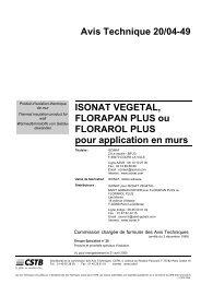 Avis Technique 20/04-49 ISONAT VEGETAL, FLORAPAN ... - Isover