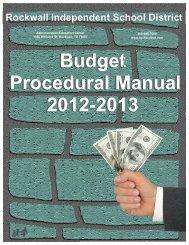 2012-2013 Budget Procedural Manual - Rockwall ISD