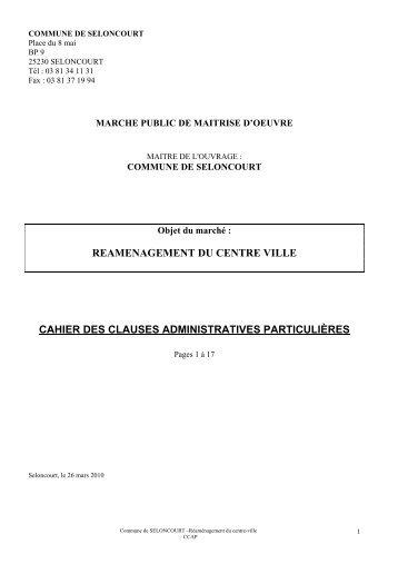 CAHIER DES CLAUSES - mairie de Seloncourt