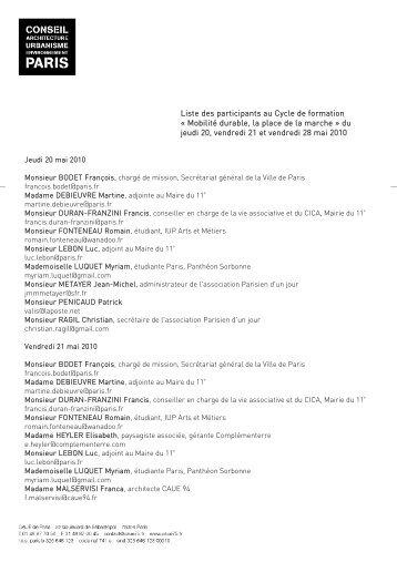 Liste des participants au Cycle de formation ... - (CAUE75) Paris