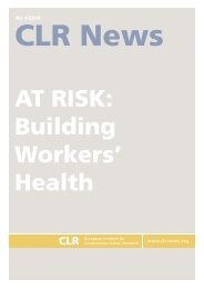 at risk: building workers' health - Construction Labour Research