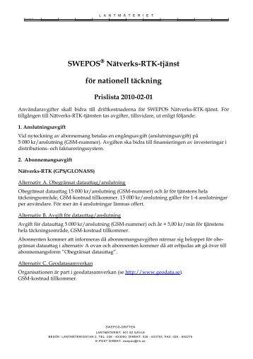 Anmälningsblankett, nationell täckning - Swepos - Lantmäteriet