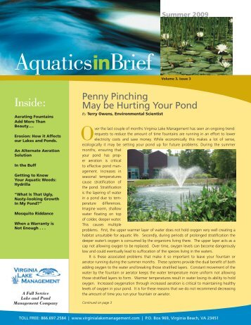Aquatics In Brief Newsletter - Summer 2009 - Virginia Lake ...