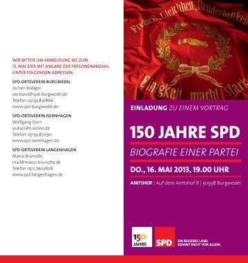 150 Jahre SPD - Biografie einer Partei - SPD-Ortsverein Isernhagen