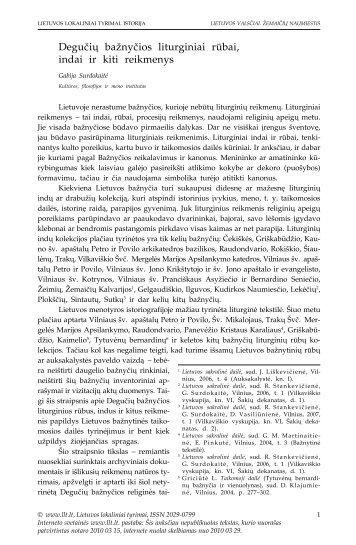 Degučių bažnyčios liturginiai rūbai, indai ir kiti reikmenys - Lietuvos ...