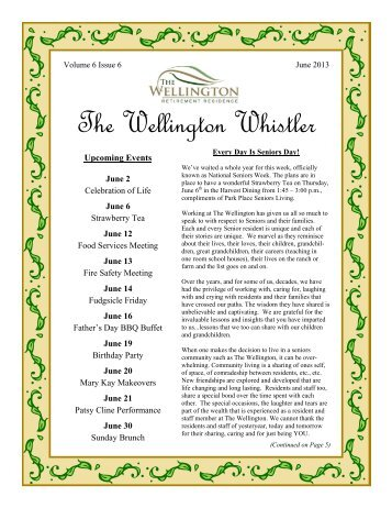 To read our current newsletter, click here. - The Wellington