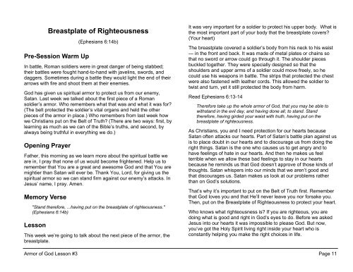 Lesson 3: Breastplate of Righteousness
