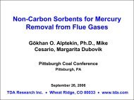 Non-Carbon Sorbents for Mercury Removal from Flue Gases