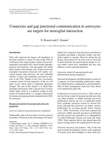 Connexins and gap junctional communication in astrocytes are ...
