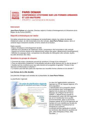 Compte rendu de l'atelier en pdf - (CAUE75) Paris