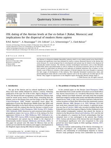 OSL dating of the Aterian levels at Dar es-Soltan I ... - in-africa.org