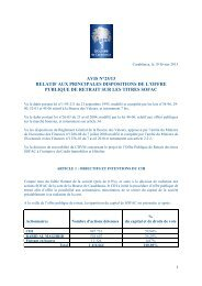 Principales dispositions de l'Offre Publique de Retrait sur les titres ...