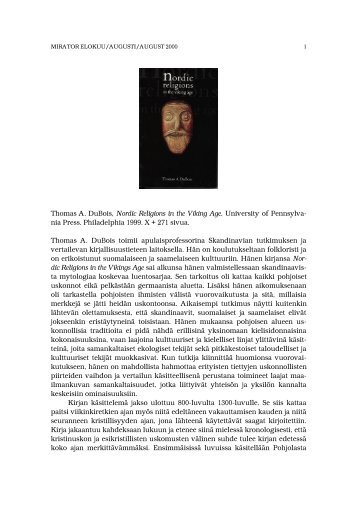 Thomas A. DuBois, Nordic Religions in the Viking Age. University of ...