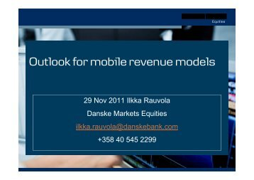 Outlook for mobile revenue models - Hetky