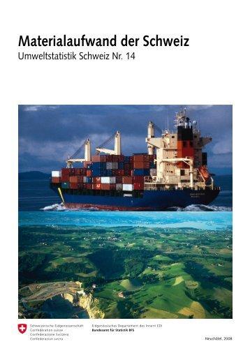 Materialaufwand der Schweiz, BfS, 2008 - Bundesamt für Statistik