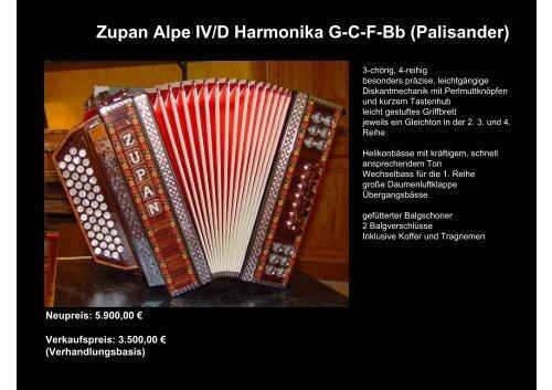 Zupan Alpe Iv D Harmonika G C F Bb Palisander Tanz Mit Franz