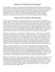 Radium Girls Character Descriptions - WBHSTheatre.com