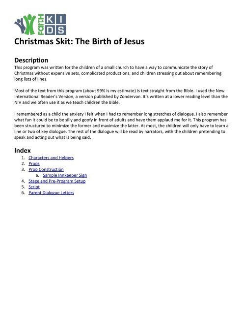 Christmas Skit: The Birth Of Jesus Description - Ministry-To