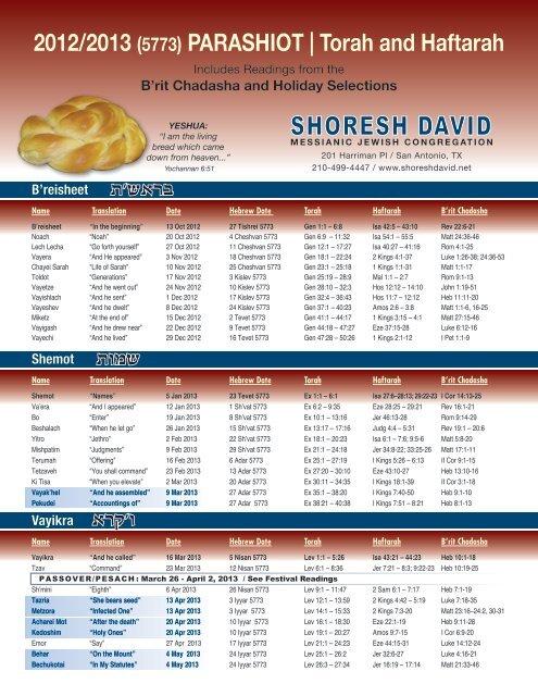 Torah Calendar.New Torah Portions Calendar 5773 Shoresh David Messianic