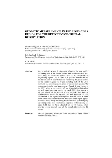 geodetic measurements in the aegean sea region for the detection ...