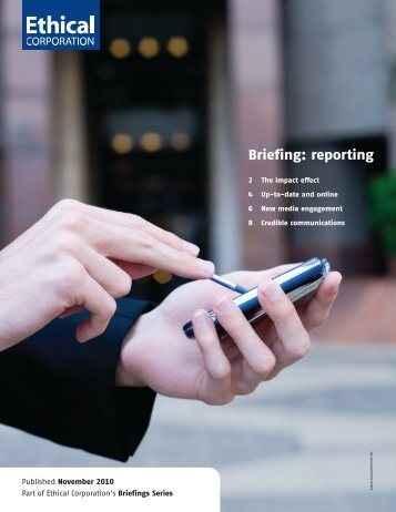 Ethical Corporation Reporting Briefing - The Social Audit Network