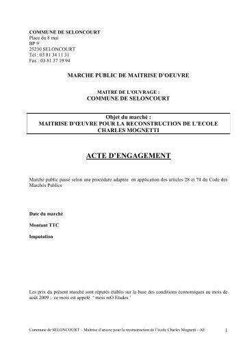 acte d'engagement - Mairie de Seloncourt