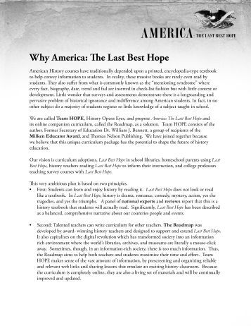 Why America: The Last Best Hope