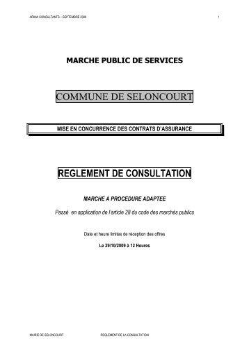 reglement de consultation - mairie de Seloncourt