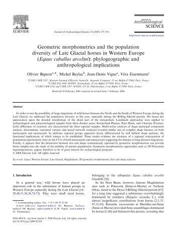Geometric morphometrics and the population diversity of Late ...
