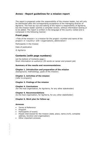 Annex 2 : Report Guidelines - Agriterra