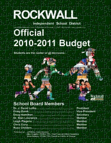 2011 Final Budget Document - Rockwall ISD