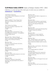 CLR-News Index 2/2010: Index of Subject Articles 1993 – 2010