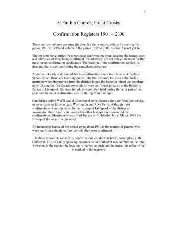 Confirmation list - St Faith's home page