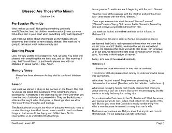 Lesson 2: Blessed Are Those Who Mourn