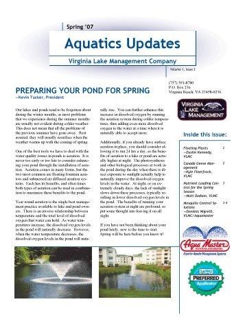 Aquatics In Brief Newsletter - Spring 2007 - Virginia Lake ...