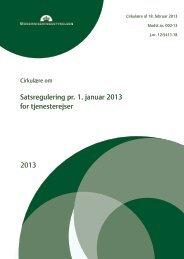 2013 Satsregulering pr. 1. januar 2013 for tjenesterejser