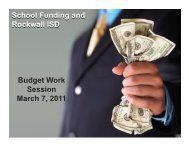 Board Work Session – March 7, 2011 - Rockwall ISD