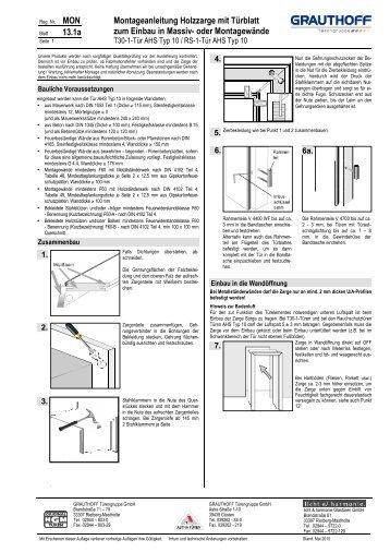 Stahlzarge Oder Holzzarge 9 3 einbauanleitung türblatt t 30 1 tür ahs typ 10 rs grauthoff