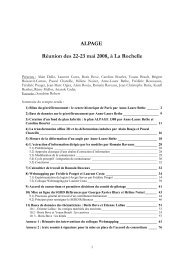 ALPAGE Réunion des 22-23 mai 2008, à La Rochelle