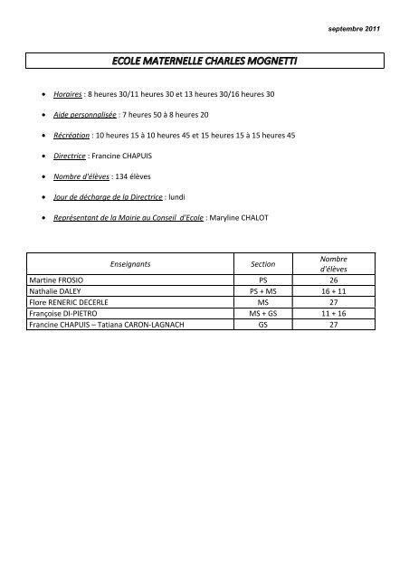 Composition écoles année 2011-2012 - Mairie de Seloncourt