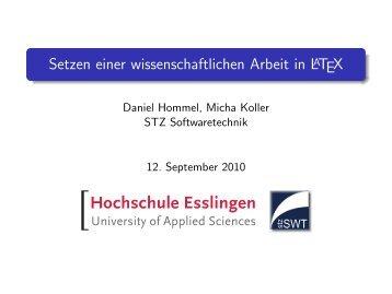 Setzen einer wissenschaftlichen Arbeit in LATEX - Hochschule ...